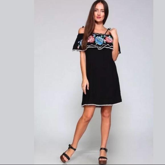 Velzera Boho Bohemian Lace Trim Stretch Tunic Dress Black Plus 1XL /& 2XL New!